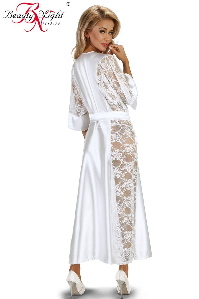 Long Kimono Style Satin & Lace Dressing Gown Beauty Night Bouquet
